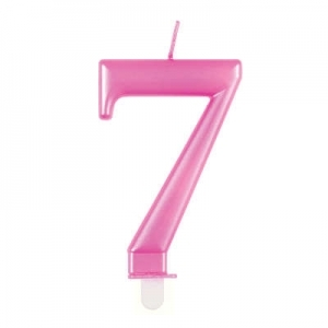 Pink Metallic Number 7 Birthday Candle