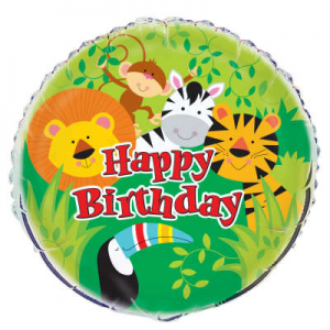 "Animal Jungle Happy Birthday Balloon - 18"" Inflated"