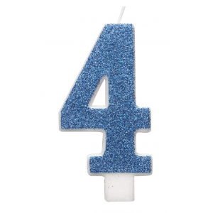 Blue Glitz Number 4 Birthday Candle
