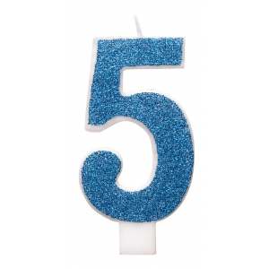 Blue Glitz Number 5 Birthday Candle