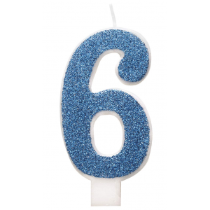Blue Glitz Number 6 Birthday Candle