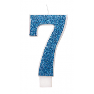 Blue Glitz Number 7 Birthday Candle