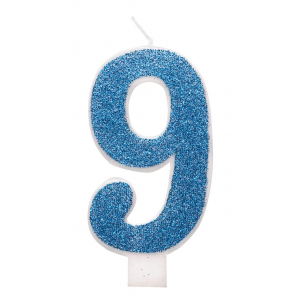 Blue Glitz Number 9 Birthday Candle