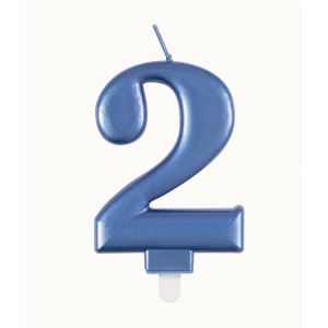 Blue Metallic Number 2 Birthday Candle