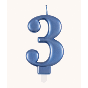 Blue Metallic Number 3 Birthday Candle