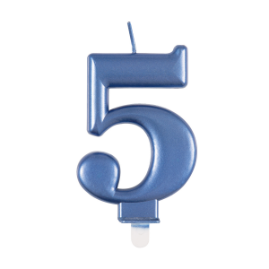 Blue Metallic Number 5 Birthday Candle
