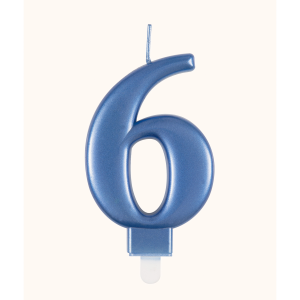 Blue Metallic Number 6 Birthday Candle