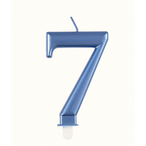 Blue Metallic Number 7 Birthday Candle