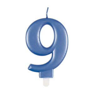 Blue Metallic Number 9 Birthday Candle