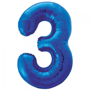 "Blue Number 3 Foil Balloon - 34"" Inflated"