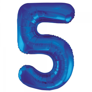 "Blue Number 5 Foil Balloon - 34"" Inflated"