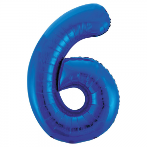 "Blue Number 6 Foil Balloon - 34"" Inflated"