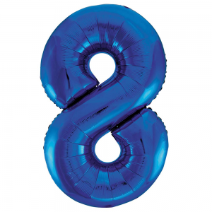 "Blue Number 8 Foil Balloon - 34"" Inflated"