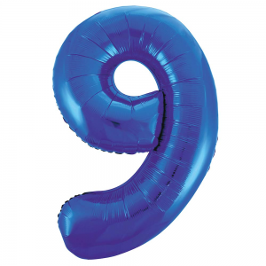 "Blue Number 9 Foil Balloon - 34"" Inflated"