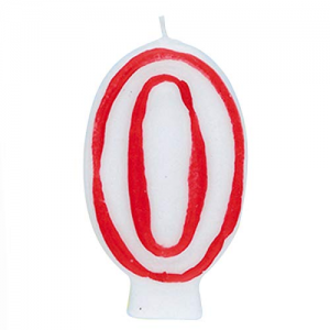 Deluxe Red Number 0 Birthday Candle