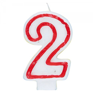 Deluxe Red Number 2 Birthday Candle