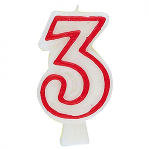 Deluxe Red Number 3 Birthday Candle
