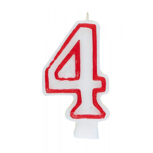 Deluxe Red Number 4 Birthday Candle