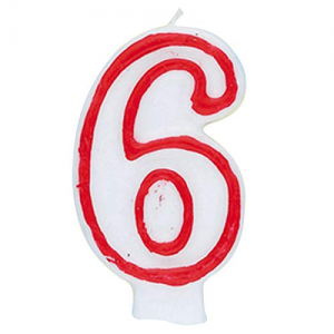 Deluxe Red Number 6 Birthday Candle