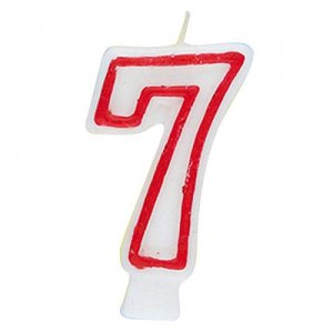 Deluxe Red Number 7 Birthday Candle