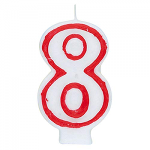 Deluxe Red Number 8 Birthday Candle