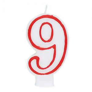 Deluxe Red Number 9 Birthday Candle