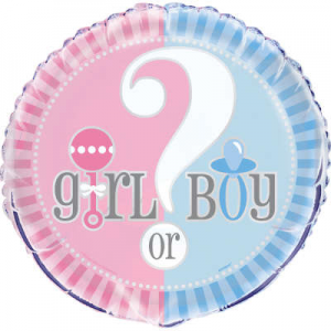 "Gender Reveal Balloon - 18"" Inflated"
