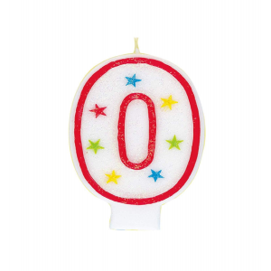Glitter Red Number 0 Candle With Happy Birthday Cake Topper