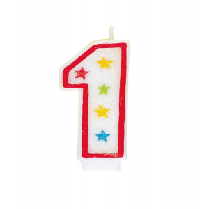 Glitter Red Number 1 Candle With Happy Birthday Cake Topper
