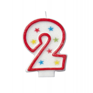 Glitter Red Number 2 Candle With Happy Birthday Cake Topper