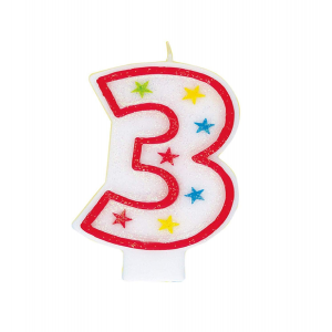 Glitter Red Number 3 Candle With Happy Birthday Cake Topper
