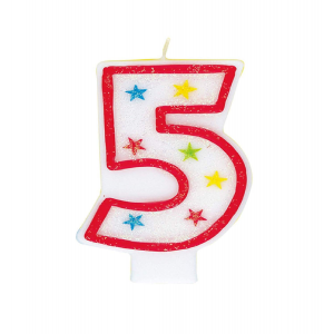 Glitter Red Number 5 Candle With Happy Birthday Cake Topper