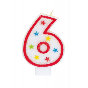 Glitter Red Number 6 Candle With Happy Birthday Cake Topper