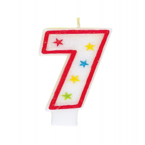 Glitter Red Number 7 Candle With Happy Birthday Cake Topper