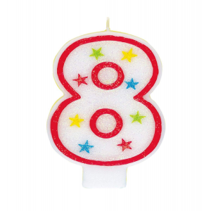 Glitter Red Number 8 Candle With Happy Birthday Cake Topper