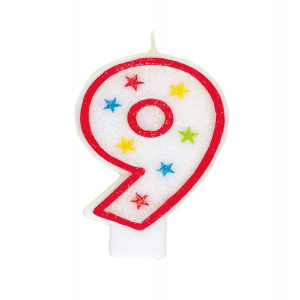 Glitter Red Number 9 Candle With Happy Birthday Cake Topper