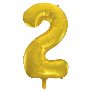 "Gold Number 2 Foil Balloon - 34"" Inflated"