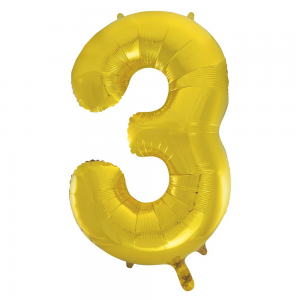 "Gold Number 3 Foil Balloon - 34"" Inflated"