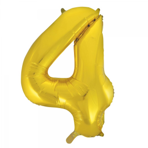"Gold Number 4 Foil Balloon - 34"" Inflated"
