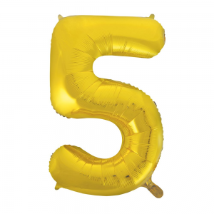"Gold Number 5 Foil Balloon - 34"" Inflated"