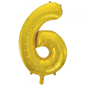 "Gold Number 6 Foil Balloon - 34"" Inflated"