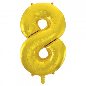 "Gold Number 8 Foil Balloon - 34"" Inflated"