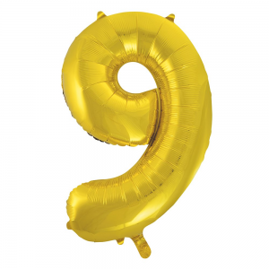 "Gold Number 9 Foil Balloon - 34"" Inflated"