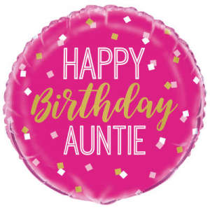 "Happy Birthday Auntie Balloon - 18"" Inflated"