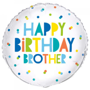 "Happy Birthday Brother Balloon - 18"" Inflated"