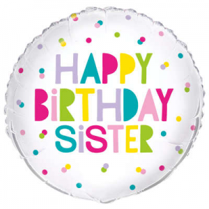 "Happy Birthday Sister Balloon - 18"" Inflated"