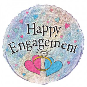 "Happy Engagement Balloon - 18"" Inflated - 18"" Inflate"