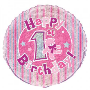 "Pink 1st Birthday Balloon - 18"" Inflated"