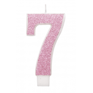 Pink Glitz Number 7 Birthday Candle