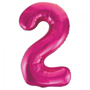 "Pink Number 2 Foil Balloon - 34"" Inflated"